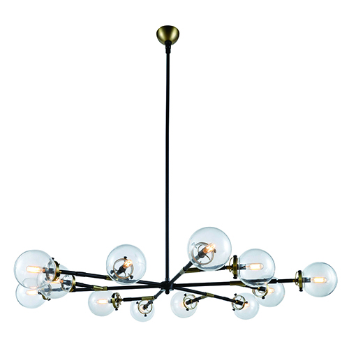 Leda Burnished Brass and Flat Black 12-Light Chandelier