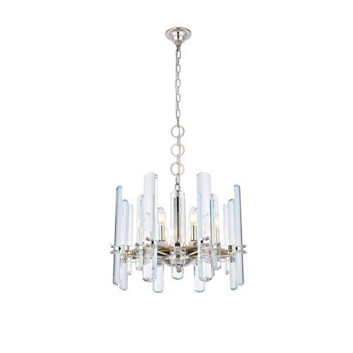 Lincoln Polished Nickel 20-Inch Eight-Light Chandelier