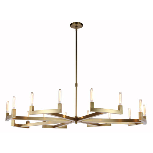 Corsica Burnished Brass 72-Inch 16-Light Chandelier