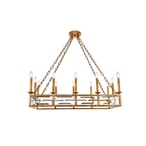Exeter Golden Iron 12-Light Island Chandelier