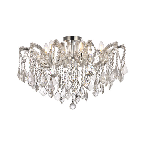 Maria Theresa Chrome 24-Inch Six-Light Flush Mount with Clear Royal Cut Crystal