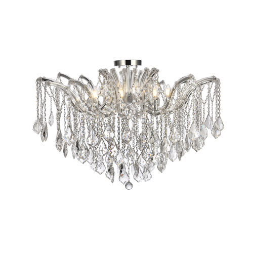 Maria Theresa Chrome 36-Inch Eight-Light Flush Mount with Clear Elegant Cut Crystal