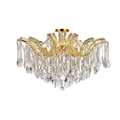 Maria Theresa Gold 36-Inch Eight-Light Flush Mount with Clear Spectra Crystal