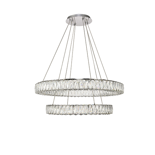 Monroe Chrome 31-Inch Two-Tier LED Chandelier