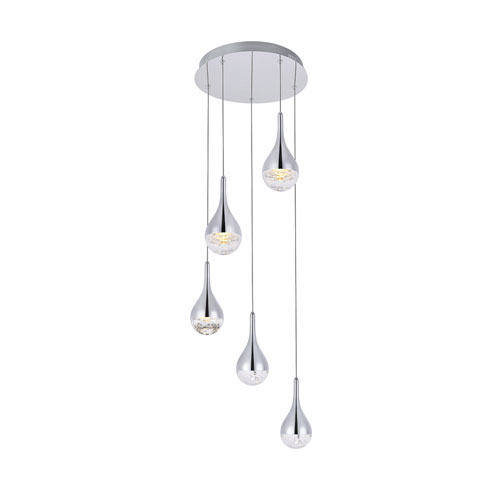 Amherst Chrome 15-Inch Five-Light LED Pendant