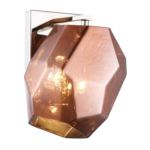 Gibeon Polished Nickel Six-Inch One-Light Wall Sconce with Copper Shade