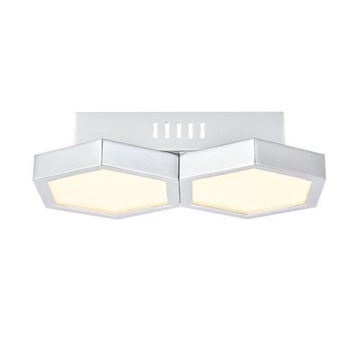 Hampton Chrome Seven-Inch Two-Light LED Flush Mount