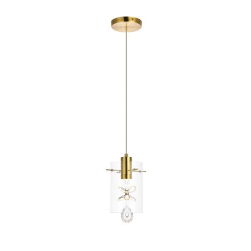 Hana Gold One-Light LED Mini-Pendant with Royal Cut Clear Crystal