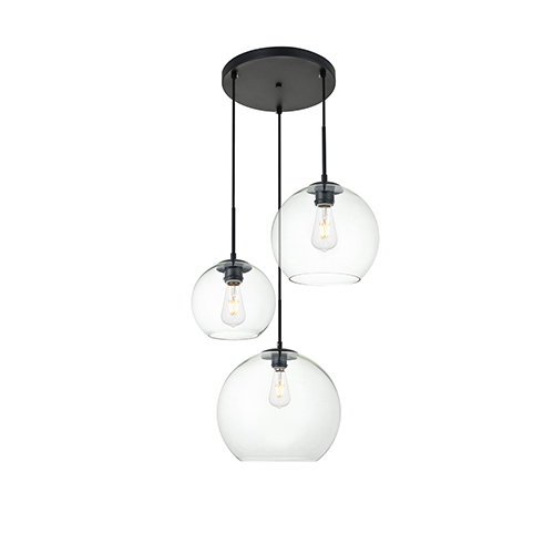 Baxter Black 11-Inch Three-Light Pendant