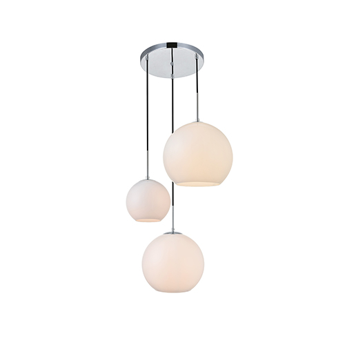 Baxter Chrome and Frosted White 11-Inch Three-Light Pendant