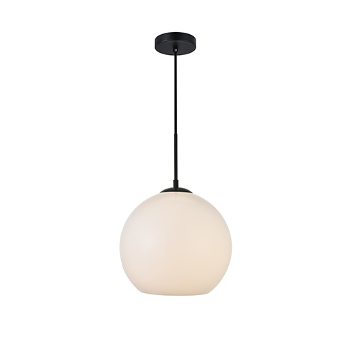 Baxter Black and Frosted White 11-Inch One-Light Pendant