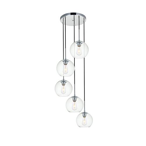 Baxter Chrome 18-Inch Five-Light Pendant