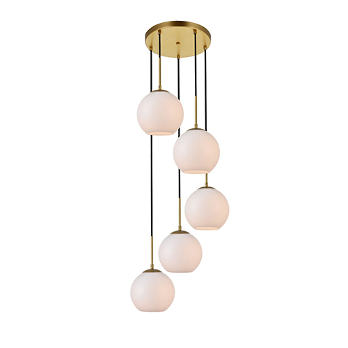 Baxter Brass and Frosted White 18-Inch Five-Light Pendant