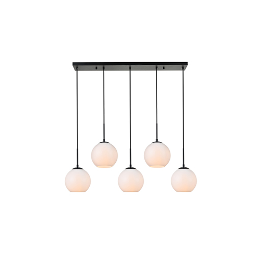Baxter Black and Frosted White Seven-Inch Five-Light Mini Pendant