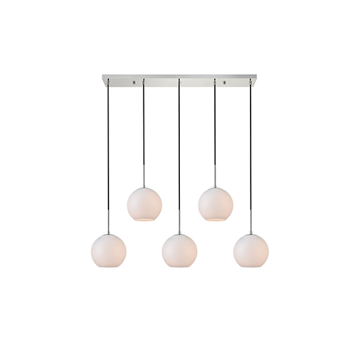 Baxter Chrome and Frosted White Seven-Inch Five-Light Mini Pendant