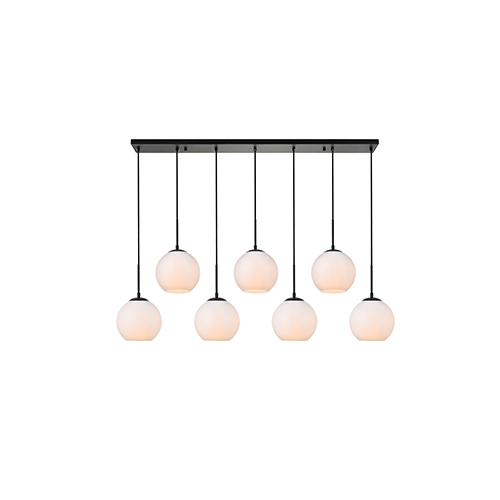 Baxter Black and Frosted White Seven-Light Mini Pendant