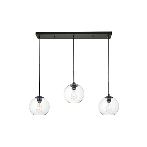 Elegant Lighting Baxter Black Seven-Inch Three-Light Mini Pendant