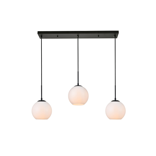 Baxter Black and Frosted White Seven-Inch Three-Light Mini Pendant