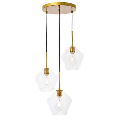 Gene Brass 18-Inch Three-Light Pendant with Clear Glass