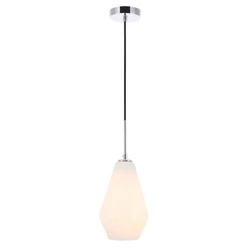 Gene Chrome Seven-Inch One-Light Mini Pendant with Frosted White Glass