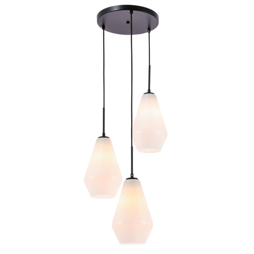 Gene Black Three-Light Pendant with Frosted White Glass