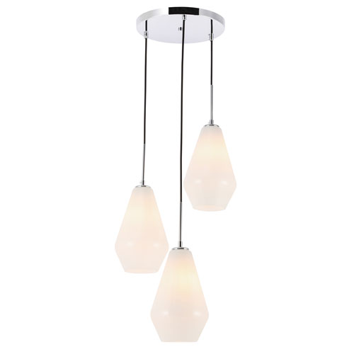 Gene Chrome Three-Light Pendant with Frosted White Glass