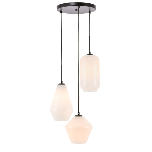 Gene Black 17-Inch Three-Light Pendant with Frosted White Glass
