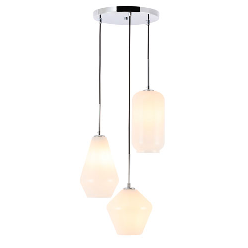 Gene Chrome 17-Inch Three-Light Pendant with Frosted White Glass