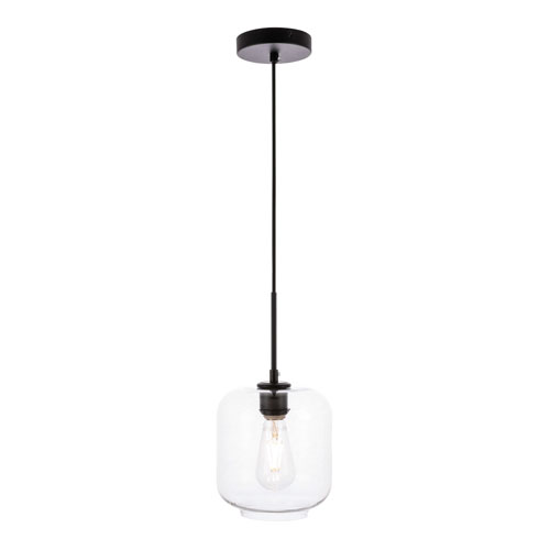 Collier Black Seven-Inch One-Light Mini Pendant with Clear Glass