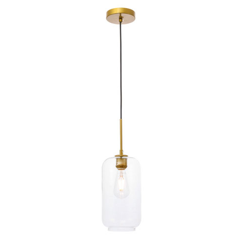 Collier Brass Six-Inch One-Light Mini Pendant with Clear Glass