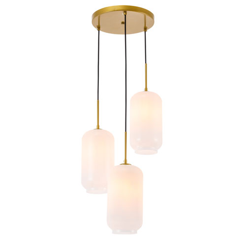 Collier Brass 16-Inch Three-Light Pendant with Frosted White Glass