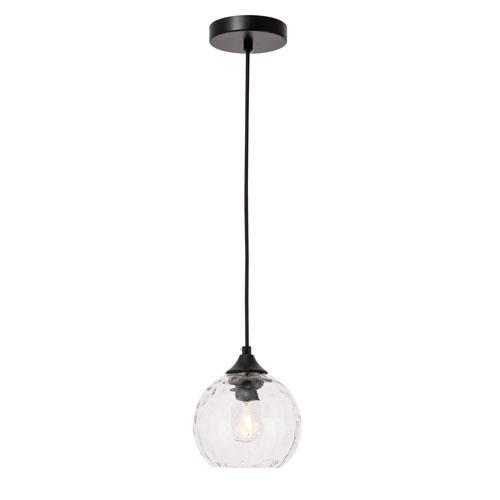 Cashel Black Six-Inch One-Light Mini Pendant with Clear Glass