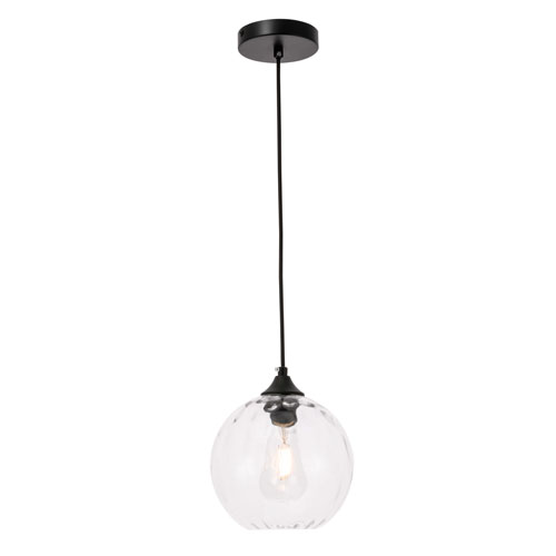Cashel Black Eight-Inch One-Light Mini Pendant with Clear Glass