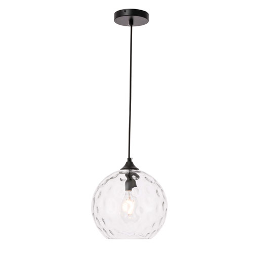 Cashel Black 10-Inch One-Light Pendant with Clear Glass