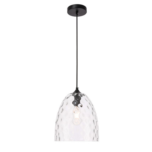 Gibson Black 10-Inch One-Light Pendant with Clear Glass