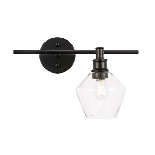 Gene Black One-Light Bath Vanity with Clear Glass