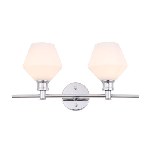 Gene Chrome Two-Light Bath Vanity with Frosted White Glass