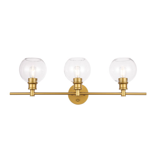 Collier Brass Three-Light Bath Vanity with Clear Glass