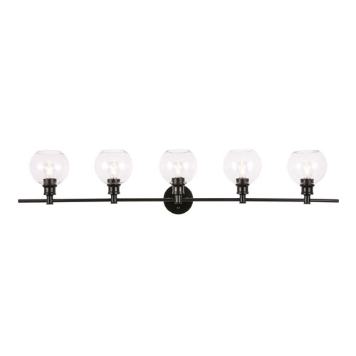 Collier Black Five-Light Bath Vanity with Clear Glass
