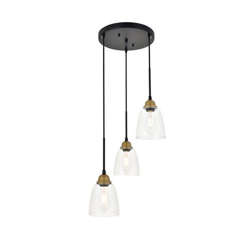Felicity Brass and Black Three-Light Pendant
