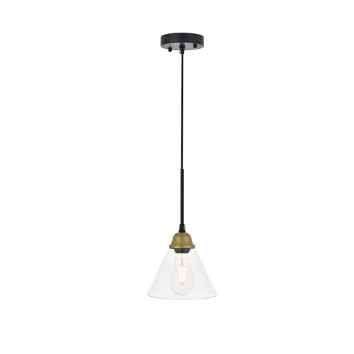 Histoire Brass and Black Seven-Inch One-Light Mini Pendant