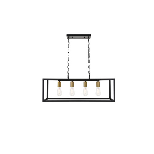 Resolute Brass and Black Four-Light Island Pendant