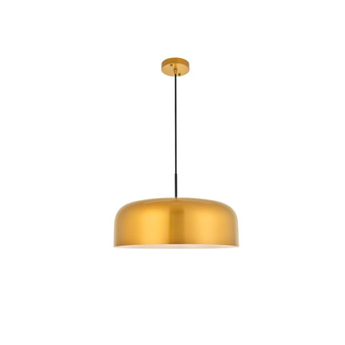 Etude Satin Gold and Black 19-Inch One-Light Pendant
