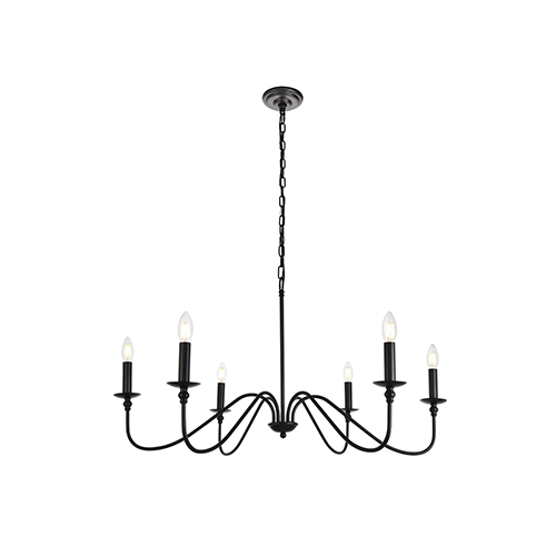 Rohan Matte Black Six-Light Chandelier