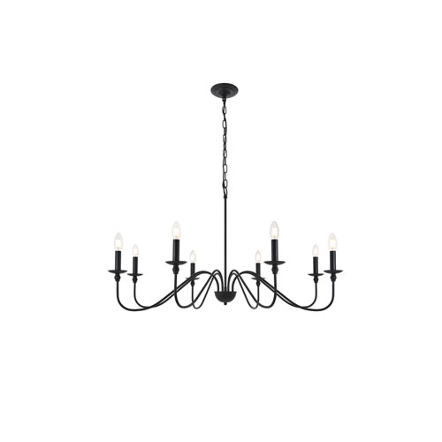 Rohan Matte Black Eight-Light Chandelier