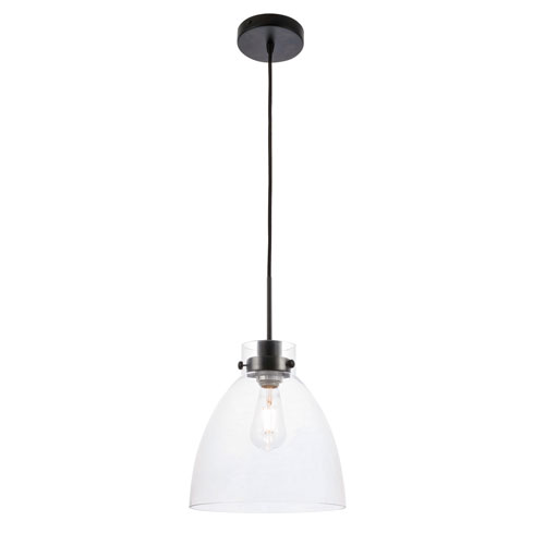 Frey Black 11-Inch One-Light Pendant with Clear Glass