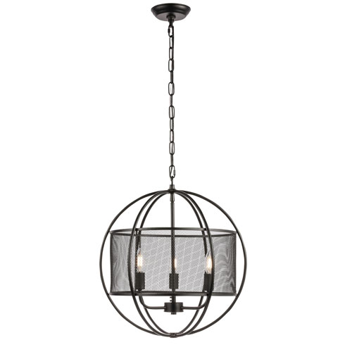 Zeke Black Three-Light Pendant