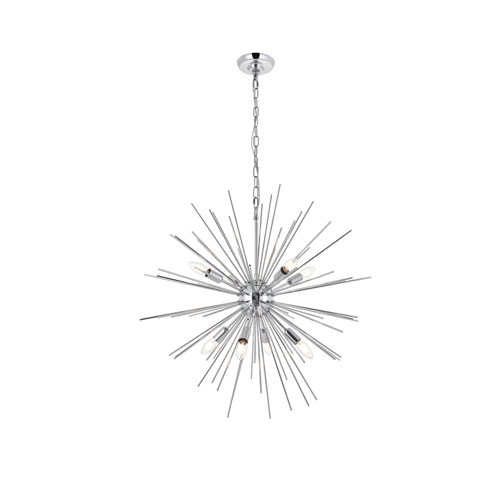 Timber Chrome 30-Inch Eight-Light Pendant
