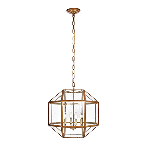Elegant Lighting Caro Vintage Gold Four-Light Pendant