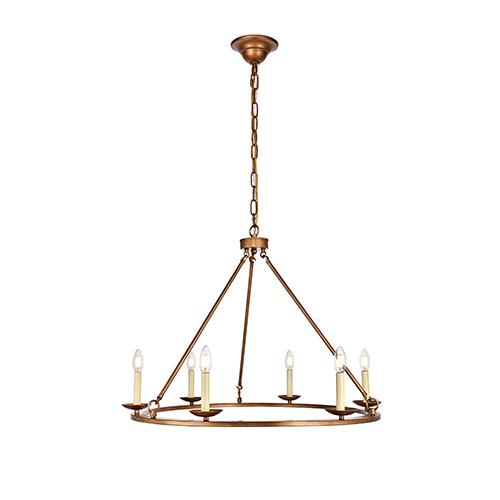 Maine Vintage Gold Six-Light Chandelier